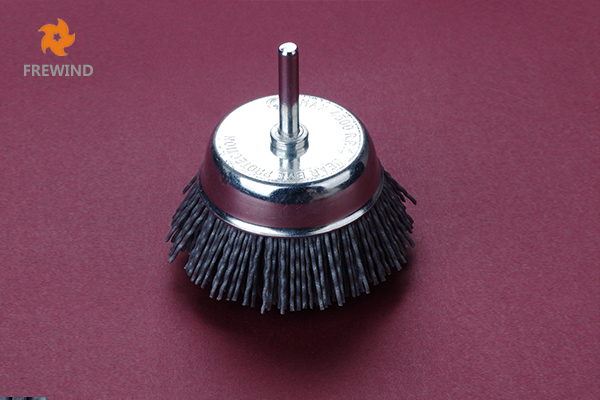 CUP BRUSH WITH SHAFT NYLON WIRE